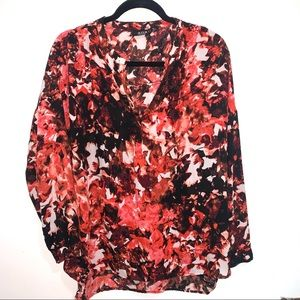 🌷5/$20 a.n.a Women's Red/Black Floral Blouse